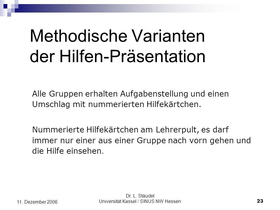Dr.L. Stäudel Universität Kassel / SINUS NW Hessen 23 11.