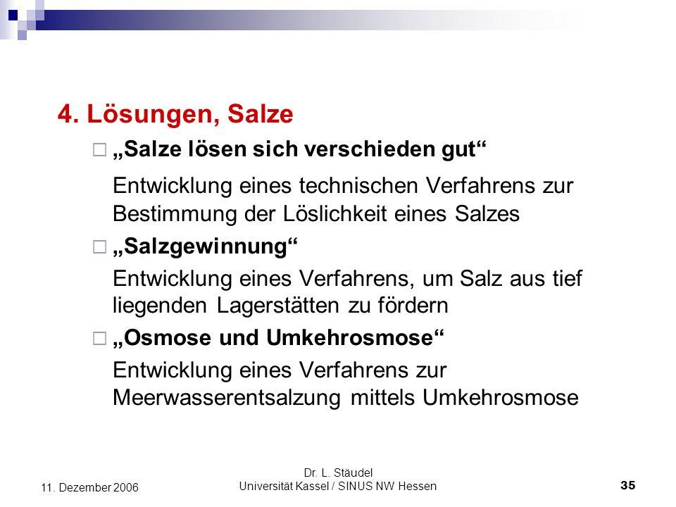 Dr.L. Stäudel Universität Kassel / SINUS NW Hessen 35 11.