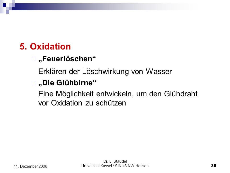Dr.L. Stäudel Universität Kassel / SINUS NW Hessen 36 11.