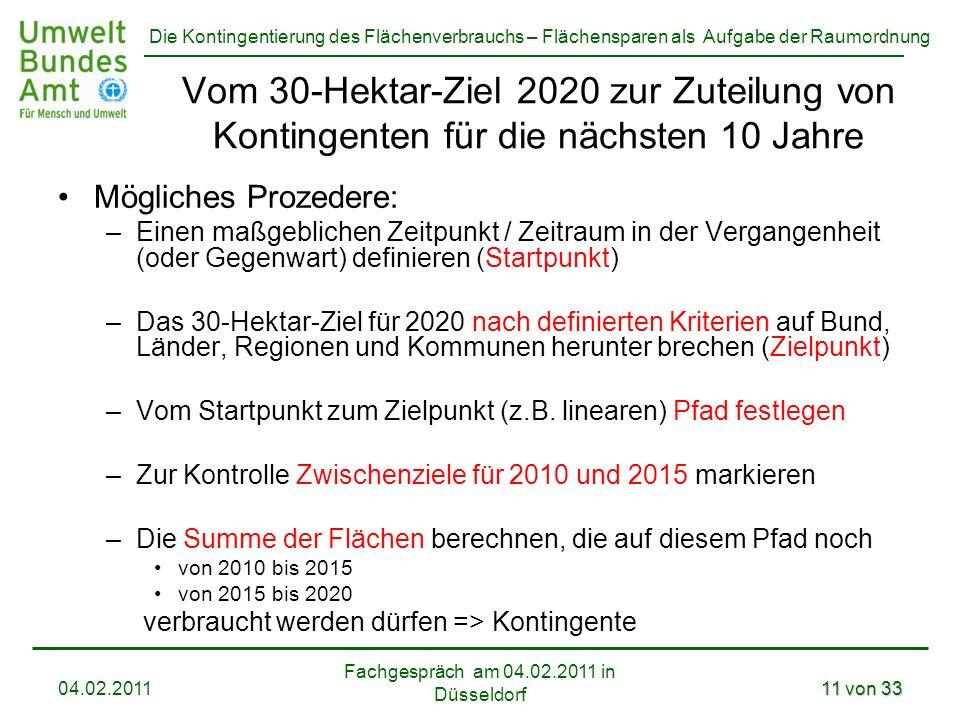 Die Kontingentierung des Flächenverbrauchs – Flächensparen als Aufgabe der Raumordnung Fachgespräch am 04.02.2011 in Düsseldorf 04.02.201111 von 33 Vo