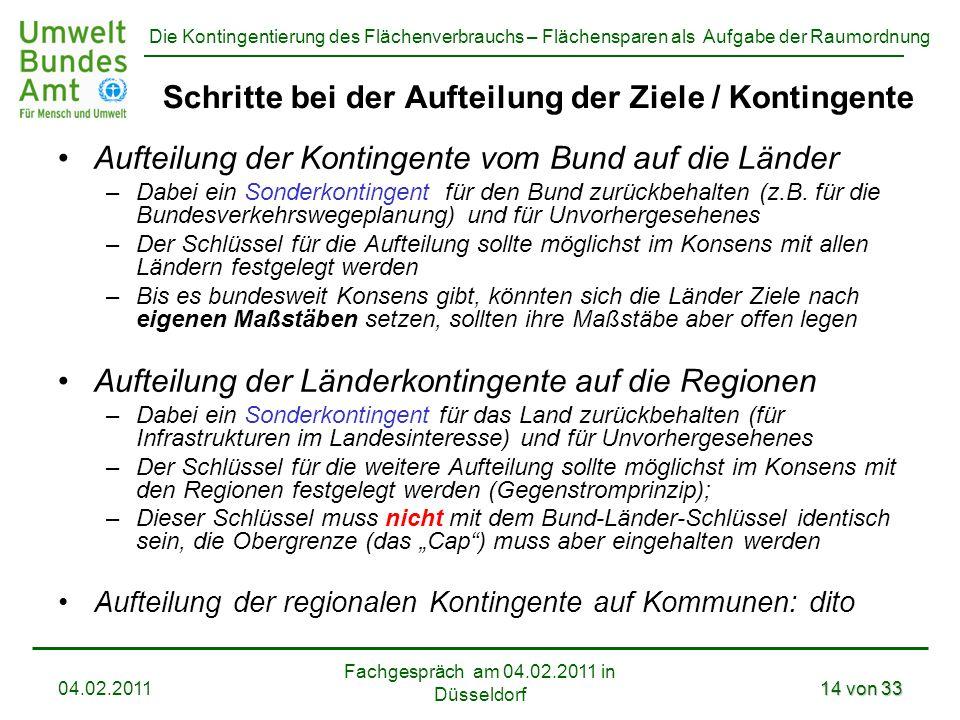 Die Kontingentierung des Flächenverbrauchs – Flächensparen als Aufgabe der Raumordnung Fachgespräch am 04.02.2011 in Düsseldorf 04.02.201114 von 33 Sc