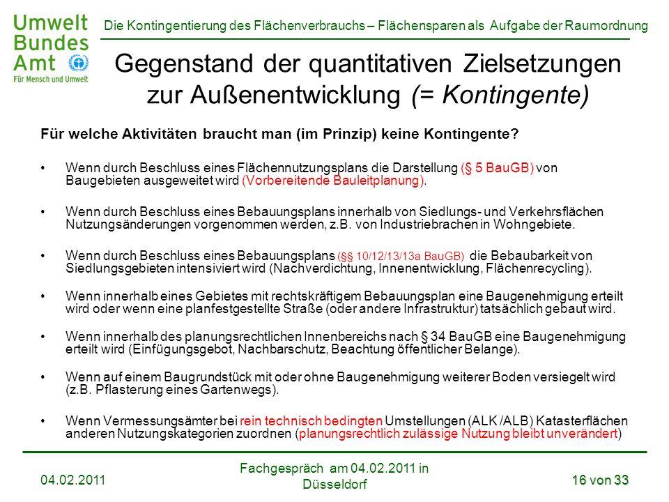 Die Kontingentierung des Flächenverbrauchs – Flächensparen als Aufgabe der Raumordnung Fachgespräch am 04.02.2011 in Düsseldorf 04.02.201116 von 33 Ge