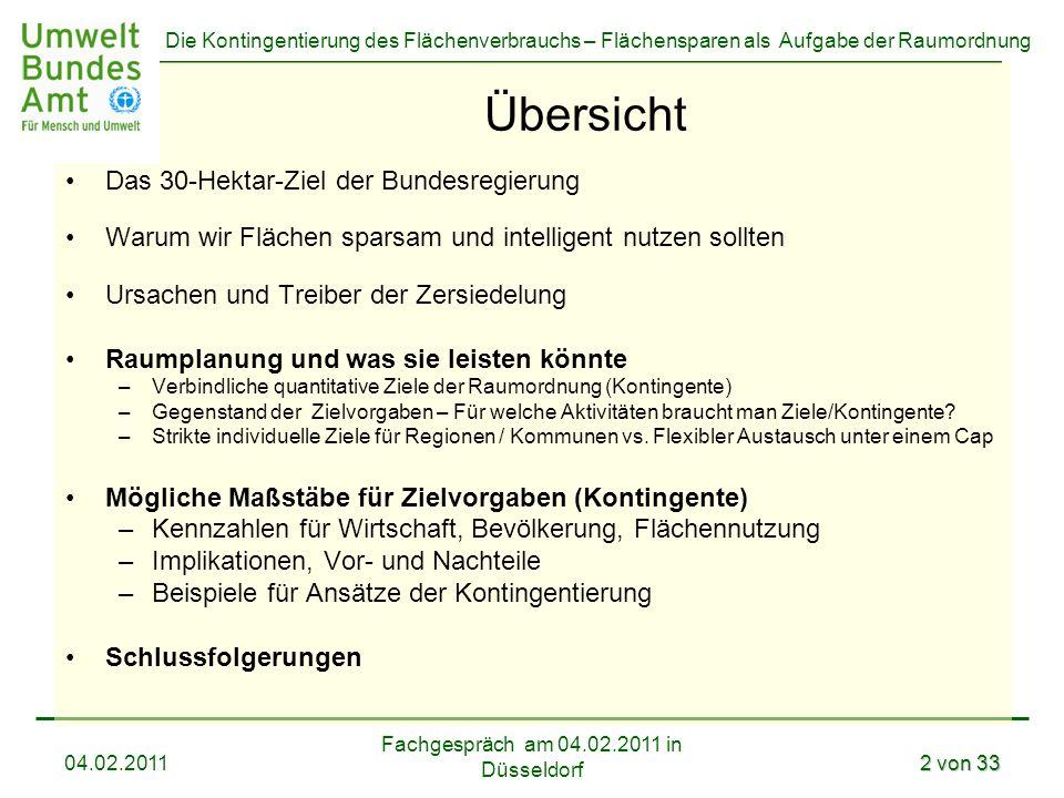 Die Kontingentierung des Flächenverbrauchs – Flächensparen als Aufgabe der Raumordnung Fachgespräch am 04.02.2011 in Düsseldorf 04.02.20113 von 33 Das 30-Hektar-Ziel der Deutschen Nationalen Nachhaltigkeitsstrategie