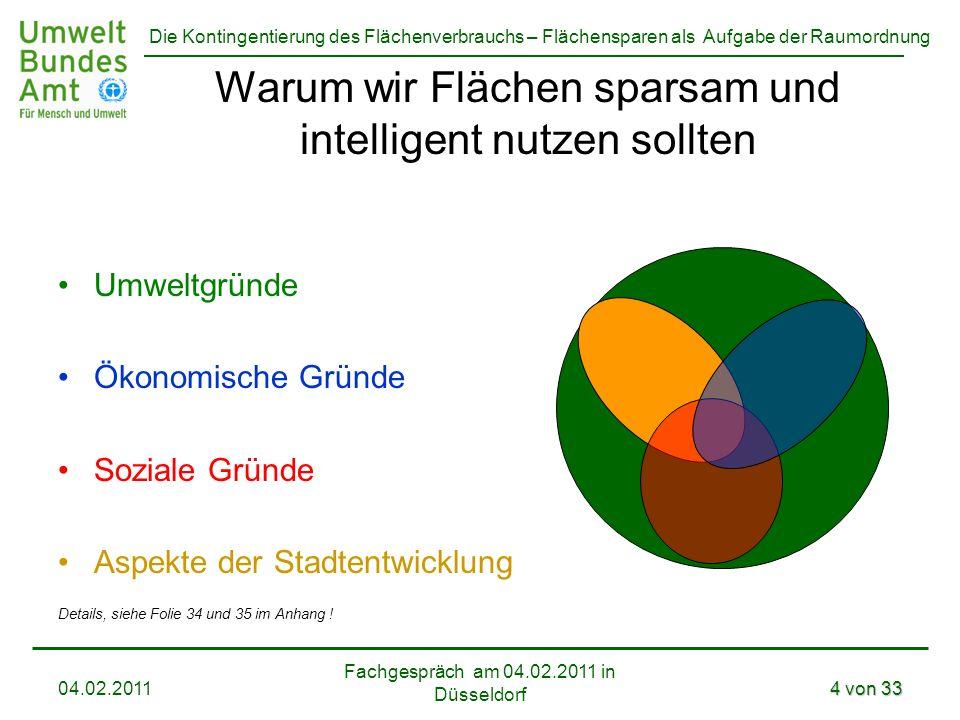 Die Kontingentierung des Flächenverbrauchs – Flächensparen als Aufgabe der Raumordnung Fachgespräch am 04.02.2011 in Düsseldorf 04.02.20114 von 33 War