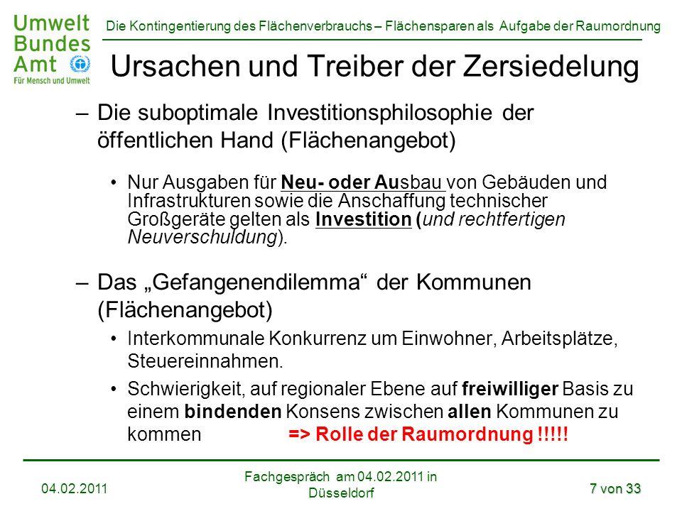 Die Kontingentierung des Flächenverbrauchs – Flächensparen als Aufgabe der Raumordnung Fachgespräch am 04.02.2011 in Düsseldorf 04.02.20117 von 33 Urs