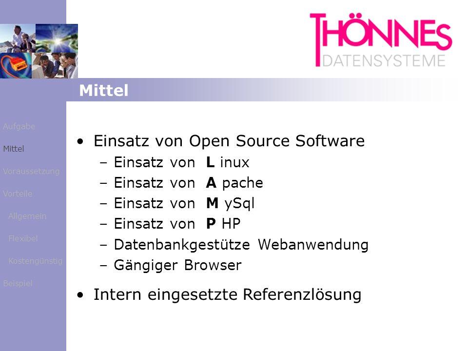 Mittel Aufgabe Mittel Voraussetzung Vorteile Allgemein Flexibel Kostengünstig Beispiel Einsatz von Open Source Software – –Einsatz von L inux – –Einsa