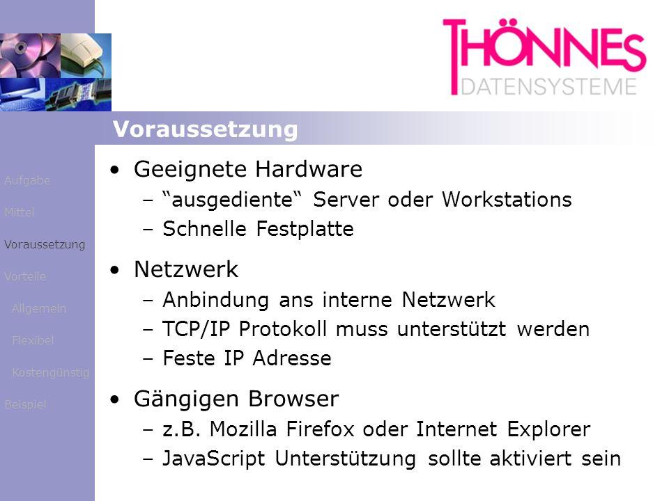 Voraussetzung Geeignete Hardware – –ausgediente Server oder Workstations – –Schnelle Festplatte Netzwerk – –Anbindung ans interne Netzwerk – –TCP/IP P