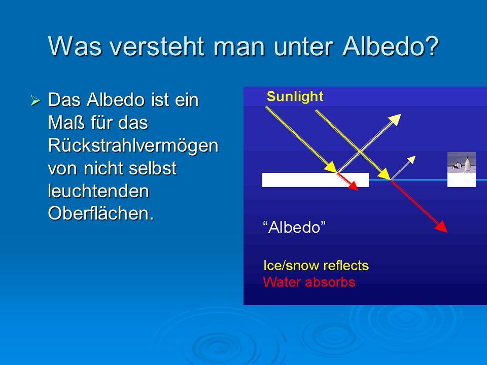 Was versteht man unter Albedo? Das Albedo ist ein Maß für das Rückstrahlvermögen von nicht selbst leuchtenden Oberflächen. Das Albedo ist ein Maß für