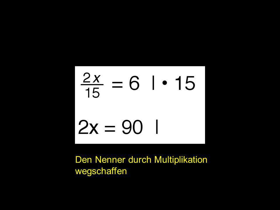 2x = ? | Den Nenner durch Multiplikation wegschaffen