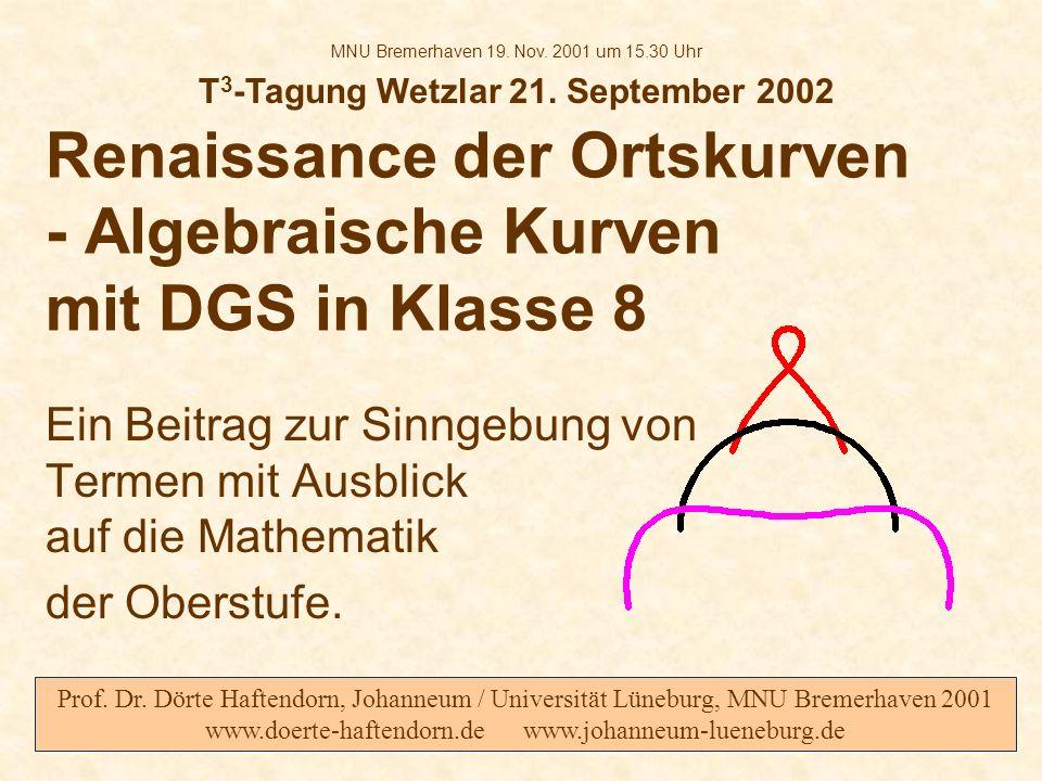 Renaissance der Ortskurven - Algebraische Kurven mit DGS in Klasse 8 Ein Beitrag zur Sinngebung von Termen mit Ausblick auf die Mathematik der Oberstu