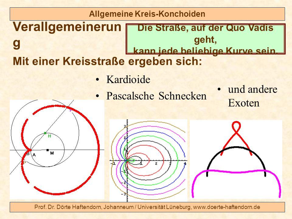 Prof. Dr. Dörte Haftendorn, Johanneum / Universität Lüneburg, www.doerte-haftendorn.de Allgemeine Kreis-Konchoiden Verallgemeinerun g Mit einer Kreiss