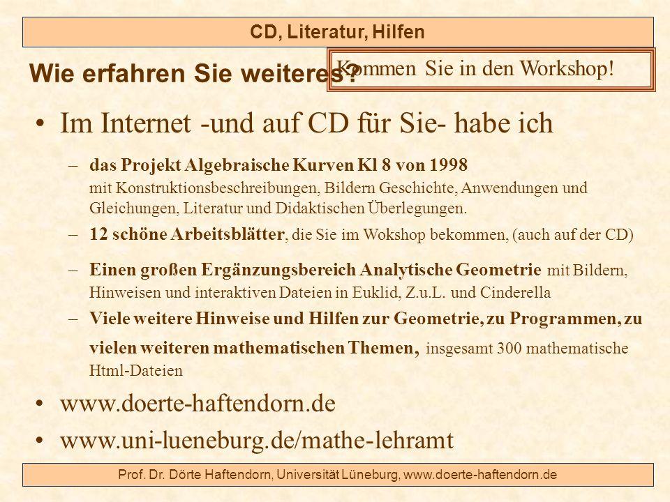 Prof. Dr. Dörte Haftendorn, Universität Lüneburg, www.doerte-haftendorn.de CD, Literatur, Hilfen Im Internet -und auf CD für Sie- habe ich –das Projek