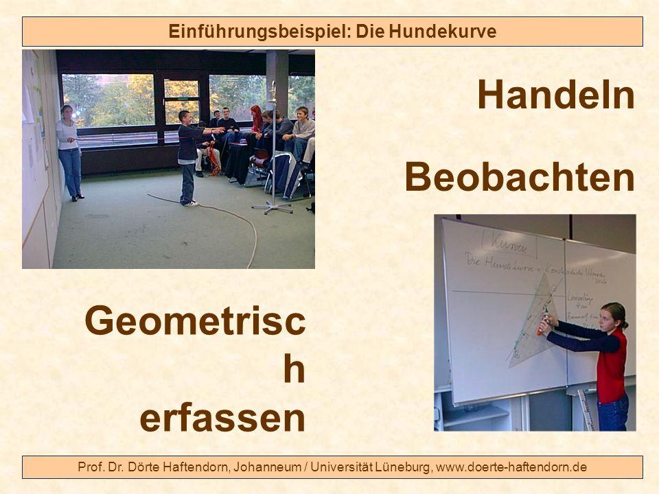 Prof. Dr. Dörte Haftendorn, Johanneum / Universität Lüneburg, www.doerte-haftendorn.de Einführungsbeispiel: Die Hundekurve Handeln Beobachten Geometri