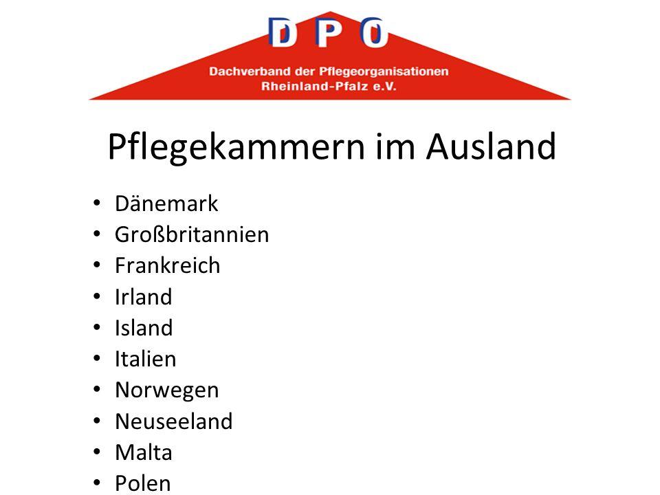 Pflegekammern im Ausland Dänemark Großbritannien Frankreich Irland Island Italien Norwegen Neuseeland Malta Polen Schweden Slowakei Spanien Südafrika