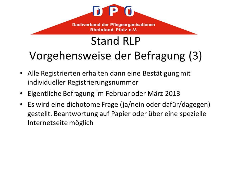 Stand RLP Vorgehensweise der Befragung (3) Alle Registrierten erhalten dann eine Bestätigung mit individueller Registrierungsnummer Eigentliche Befrag