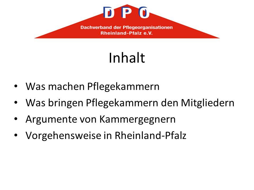 Inhalt Was machen Pflegekammern Was bringen Pflegekammern den Mitgliedern Argumente von Kammergegnern Vorgehensweise in Rheinland-Pfalz