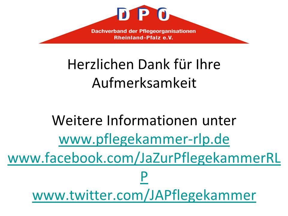 Herzlichen Dank für Ihre Aufmerksamkeit Weitere Informationen unter www.pflegekammer-rlp.de www.facebook.com/JaZurPflegekammerRL P www.twitter.com/JAP