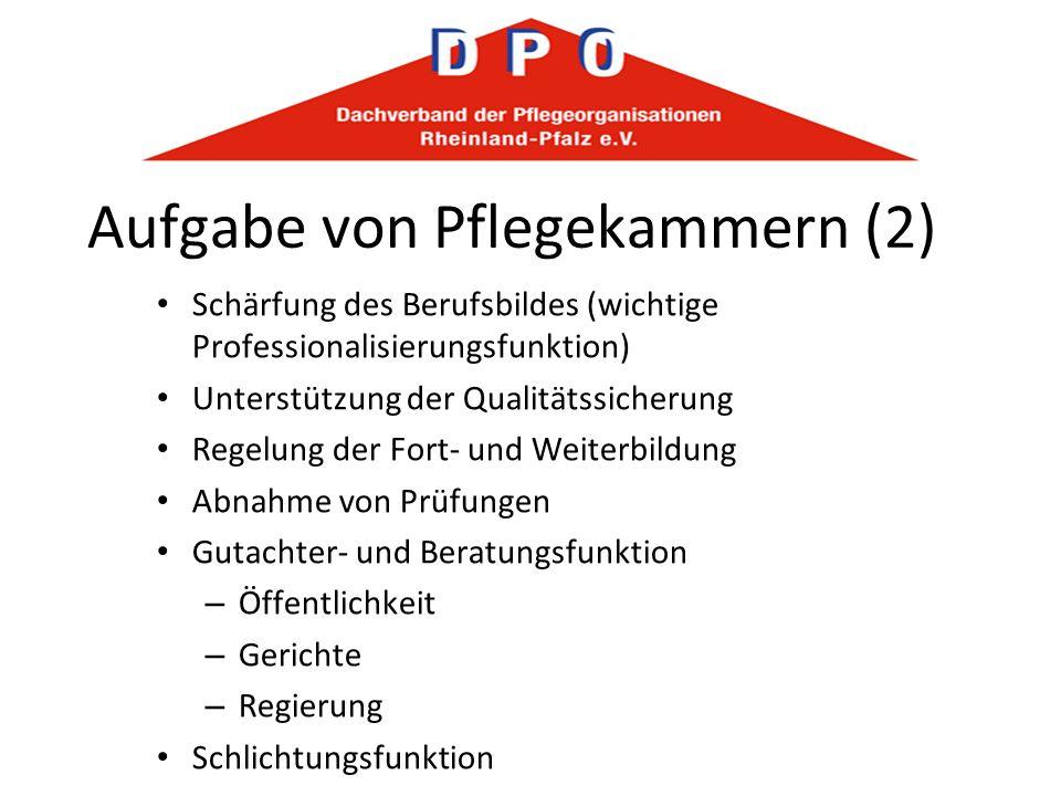 Aufgabe von Pflegekammern (2) Schärfung des Berufsbildes (wichtige Professionalisierungsfunktion) Unterstützung der Qualitätssicherung Regelung der Fo