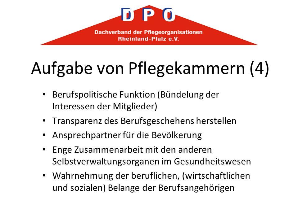 Aufgabe von Pflegekammern (4) Berufspolitische Funktion (Bündelung der Interessen der Mitglieder) Transparenz des Berufsgeschehens herstellen Ansprech
