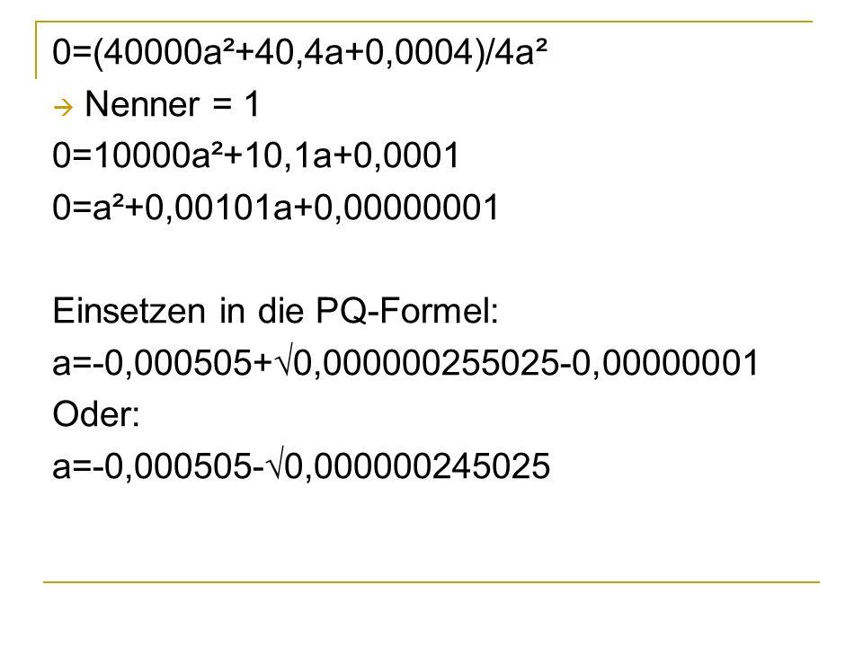 0=(40000a²+40,4a+0,0004)/4a² Nenner = 1 0=10000a²+10,1a+0,0001 0=a²+0,00101a+0,00000001 Einsetzen in die PQ-Formel: a=-0,000505+0,000000255025-0,00000001 Oder: a=-0,000505-0,000000245025
