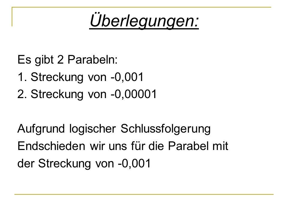 Überlegungen: Es gibt 2 Parabeln: 1. Streckung von -0,001 2.