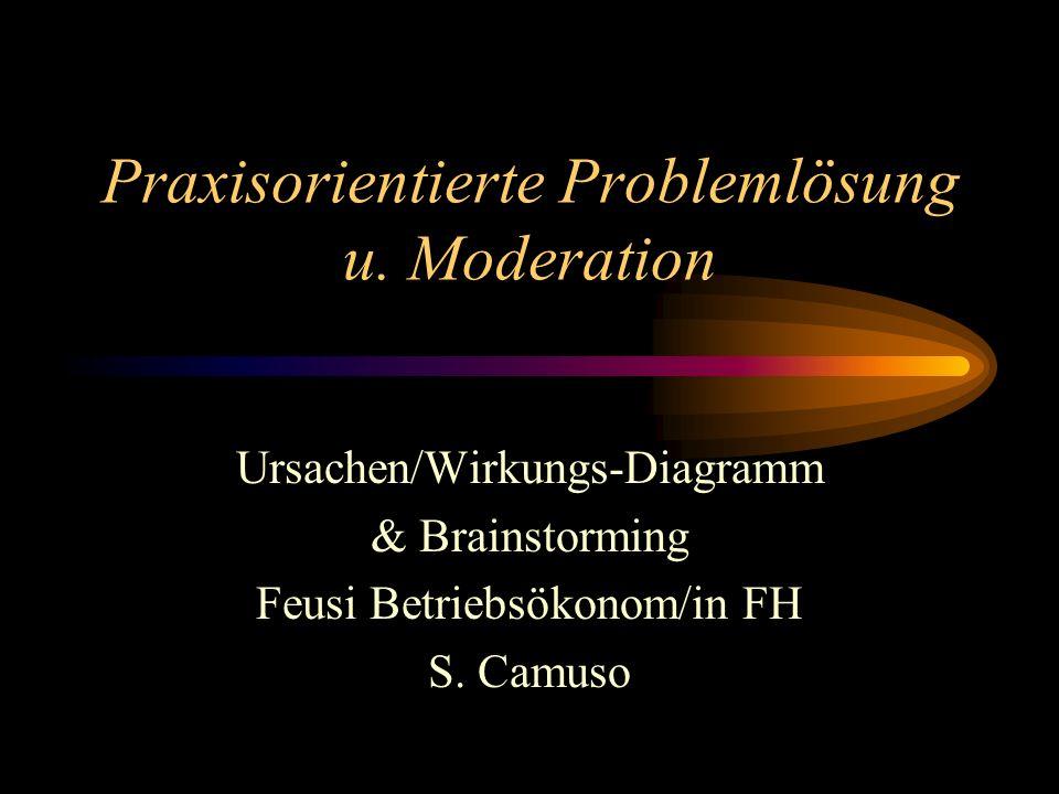 Praxisorientierte Problemlösung u. Moderation Ursachen/Wirkungs-Diagramm & Brainstorming Feusi Betriebsökonom/in FH S. Camuso