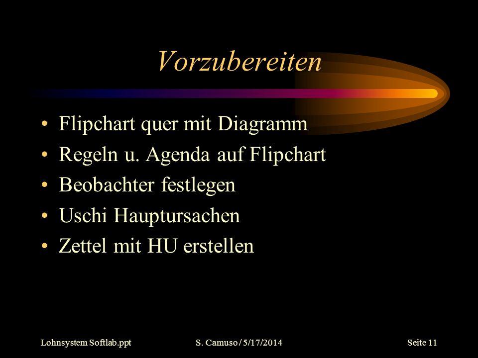 Lohnsystem Softlab.pptS. Camuso / 5/17/2014Seite 11 Vorzubereiten Flipchart quer mit Diagramm Regeln u. Agenda auf Flipchart Beobachter festlegen Usch