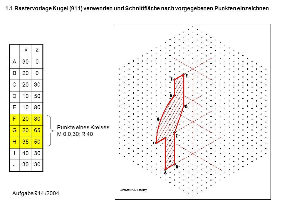 1.2 Schnittfläche an der z-Achse spiegeln; Achtung: Schraffur bei gleichem Material gleich -yz A300 B200 C 30 D1050 E1080 F2080 G2065 H3550 I4030 J Punkte eines Kreises M 0,0,30; R40 Aufgabe 914 /2004