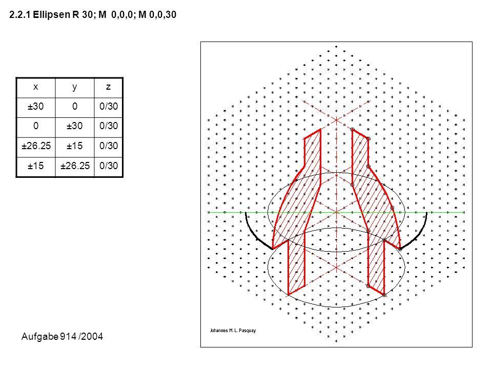 2.2.1 Ellipsen R 30; M 0,0,0; M 0,0,30 xyz ±3000/30 0±300/30 ±26.25±150/30 ±15±26.250/30 Aufgabe 914 /2004