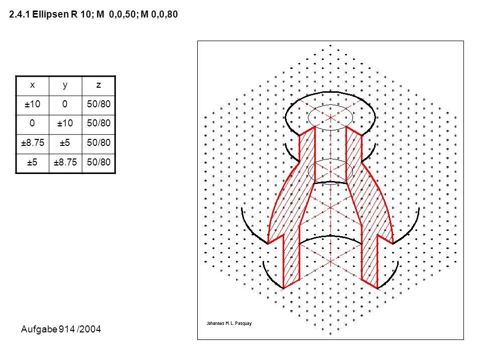 2.4.1 Ellipsen R 10; M 0,0,50; M 0,0,80 xyz ±10050/80 0±1050/80 ±8.75±550/80 ±5±8.7550/80 Aufgabe 914 /2004