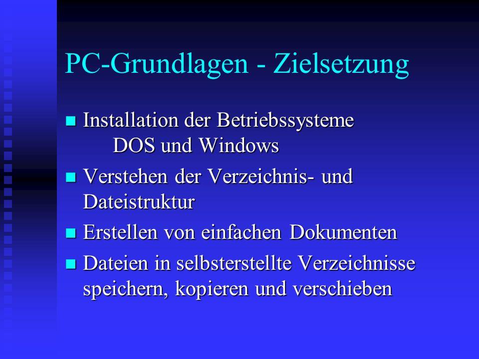 PC-Grundlagen - Zielsetzung n Installation der Betriebssysteme DOS und Windows n Verstehen der Verzeichnis- und Dateistruktur n Erstellen von einfachen Dokumenten n Dateien in selbsterstellte Verzeichnisse speichern, kopieren und verschieben