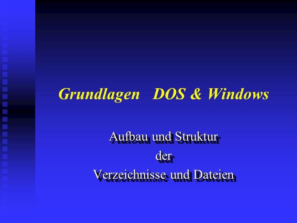 PC-Grundlagen - Zielsetzung n Installation der Betriebssysteme DOS und Windows n Verstehen der Verzeichnis- und Dateistruktur n Erstellen von einfache