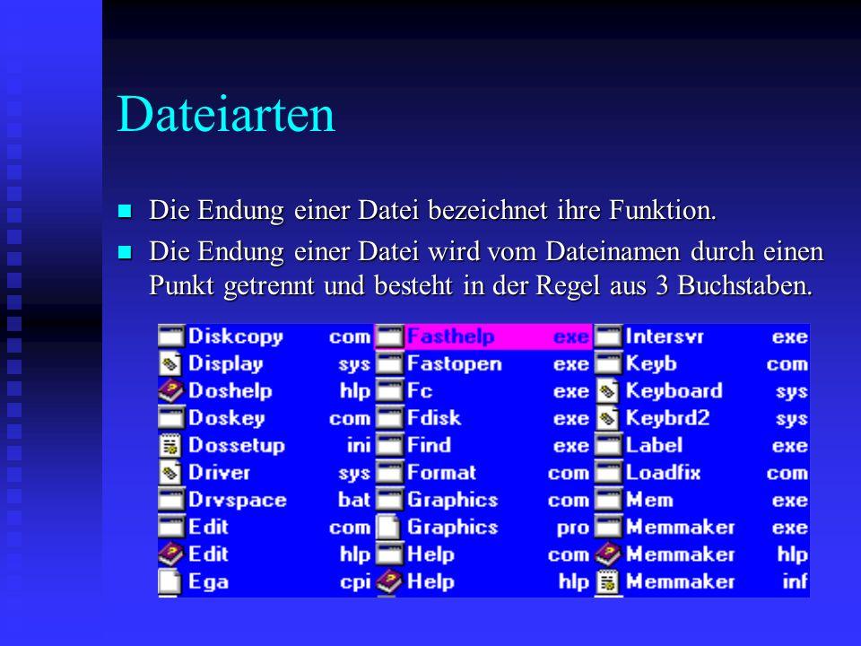 Dateiarten n Die Endung einer Datei bezeichnet ihre Funktion.