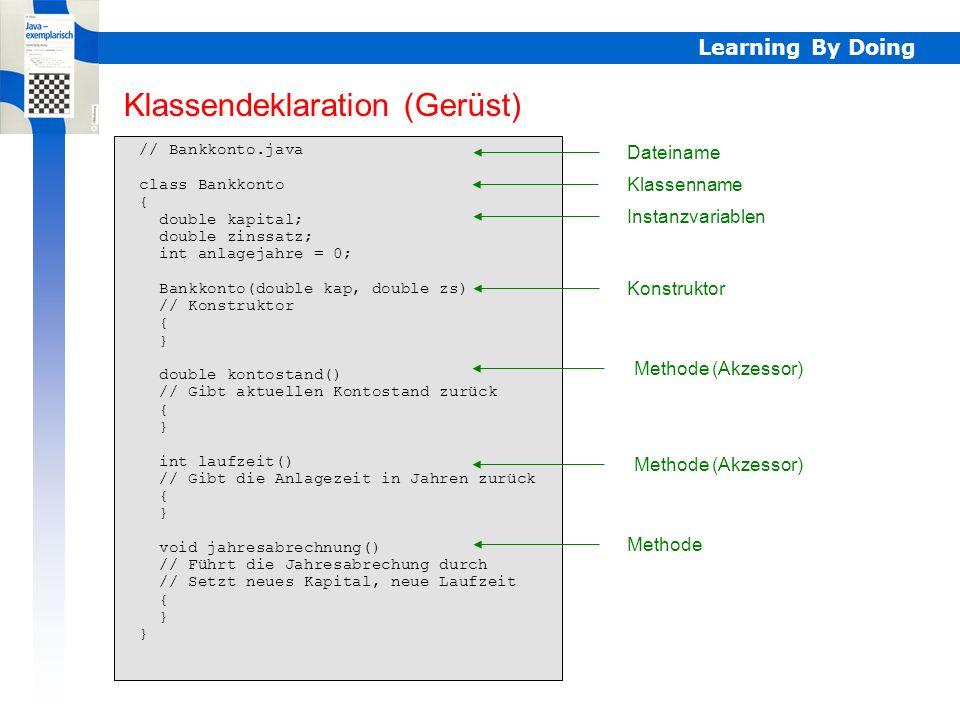 Learning By Doing // WbzEx1.java import static ch.aplu.util.Console.*; class WbzEx1 { public static void main(String[] args) { Bankkonto konto = new Bankkonto(200, 2.5); while (konto.kontostand() < 400) konto.jahresabrechnung(); println( Laufzeit mindestens + konto.laufzeit() + Jahre ); } Applikationsklasse Dateiname Import Klassenname main Instanzierung Ausschreiben J2SE V1.4: statt import static nur import dafür statt println() überall Console.println() Applikationsklasse