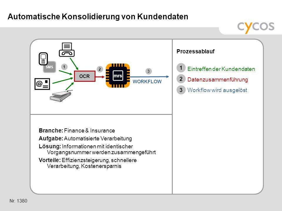 Kurztitel Branche: Finance & Insurance Aufgabe: Automatisierte Verarbeitung Lösung: Informationen mit identischer Vorgangsnummer werden zusammengeführ