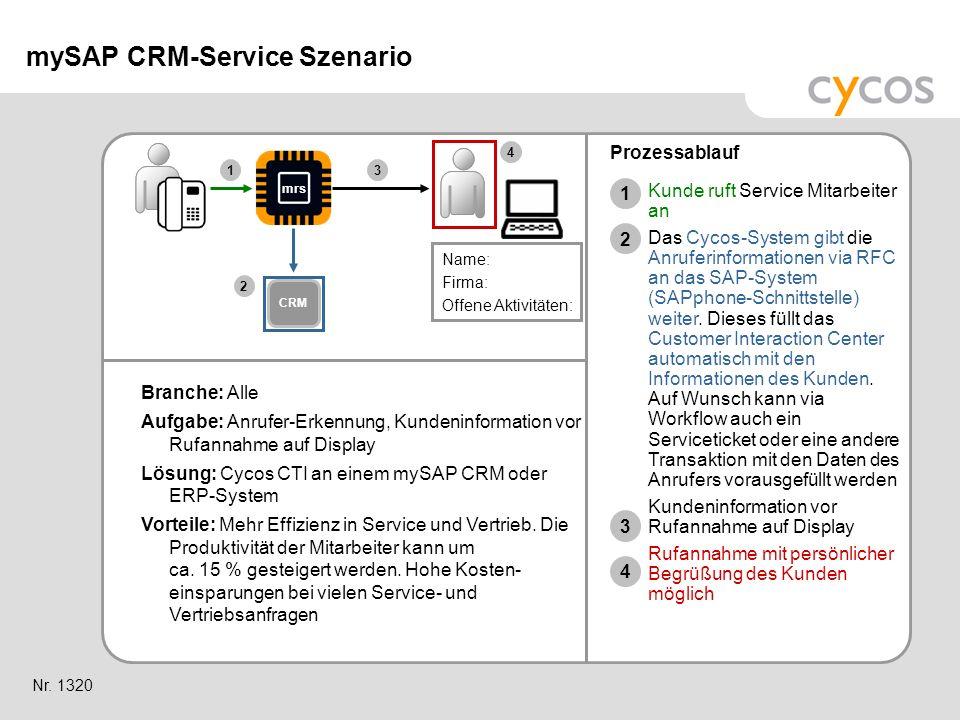 Kurztitel Branche: Alle Aufgabe: Anrufer-Erkennung, Kundeninformation vor Rufannahme auf Display Lösung: Cycos CTI an einem mySAP CRM oder ERP-System