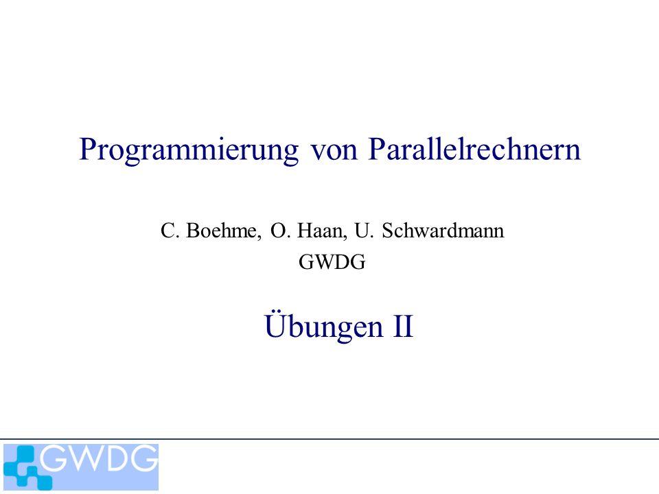 Programmierung von Parallelrechnern: Übungen II2 Beispiele Berechnung von durch numerische Integration Raleigh - Ritz - Methode –Spaltenblock -Verteilung –Reihenblock - Verteilung 2-dim Wärmeleitungsgleichung