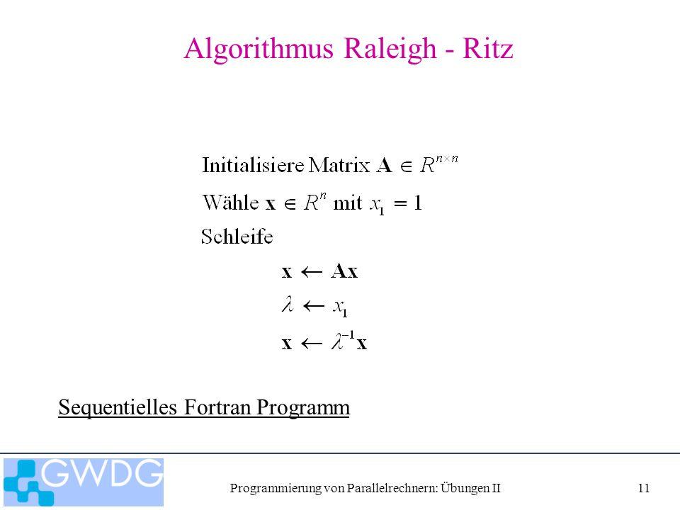 Programmierung von Parallelrechnern: Übungen II11 Algorithmus Raleigh - Ritz Sequentielles Fortran Programm