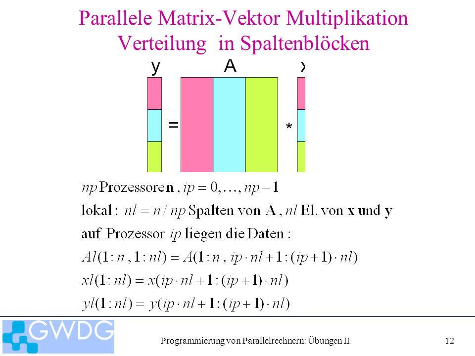 Programmierung von Parallelrechnern: Übungen II12 Parallele Matrix-Vektor Multiplikation Verteilung in Spaltenblöcken