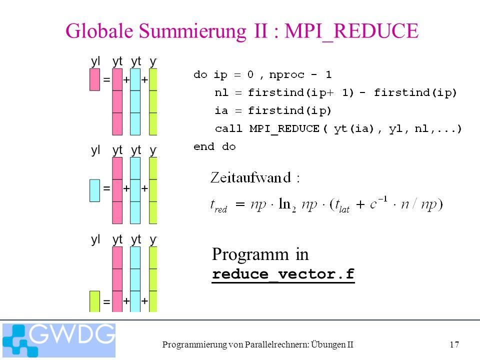 Programmierung von Parallelrechnern: Übungen II17 Globale Summierung II : MPI_REDUCE Programm in reduce_vector.f reduce_vector.f