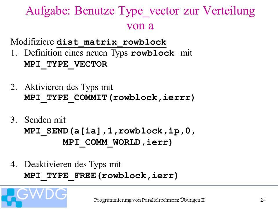 Programmierung von Parallelrechnern: Übungen II24 Aufgabe: Benutze Type_vector zur Verteilung von a Modifiziere dist_matrix_rowblock dist_matrix_rowblock 1.Definition eines neuen Typs rowblock mit MPI_TYPE_VECTOR 2.Aktivieren des Typs mit MPI_TYPE_COMMIT(rowblock,ierrr) 3.Senden mit MPI_SEND(a[ia],1,rowblock,ip,0, MPI_COMM_WORLD,ierr) 4.Deaktivieren des Typs mit MPI_TYPE_FREE(rowblock,ierr)