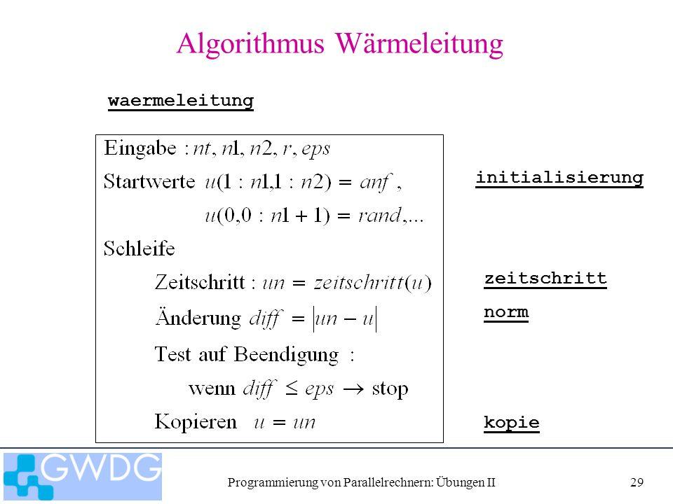 Programmierung von Parallelrechnern: Übungen II29 Algorithmus Wärmeleitung zeitschritt initialisierung norm kopie waermeleitung