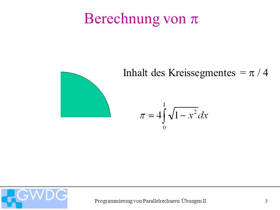 Programmierung von Parallelrechnern: Übungen II14 Programm ritz_dist_col Paralleler Raley-Ritz Algorithmus mit Spaltenblock-Verteilung Ser Eingabe: Matrixdimension n Ser Initialisierung von A Par Verteilung von A nach Al Par Startwert von xl Schleife Par yt = Al * xl Par globale Summe yl Ser = yl(1) Par verteile Par xl = 1/ * yl ritz_dist_col dist_index dist_matrix_colblock DGEMV collect_vector MPI_BCAST