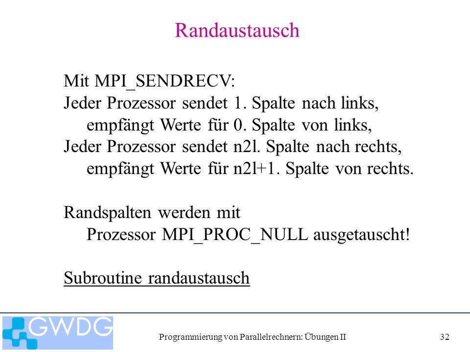 Programmierung von Parallelrechnern: Übungen II32 Randaustausch Mit MPI_SENDRECV: Jeder Prozessor sendet 1.