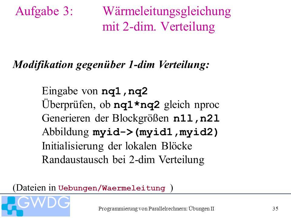 Programmierung von Parallelrechnern: Übungen II35 Aufgabe 3: Wärmeleitungsgleichung mit 2-dim.