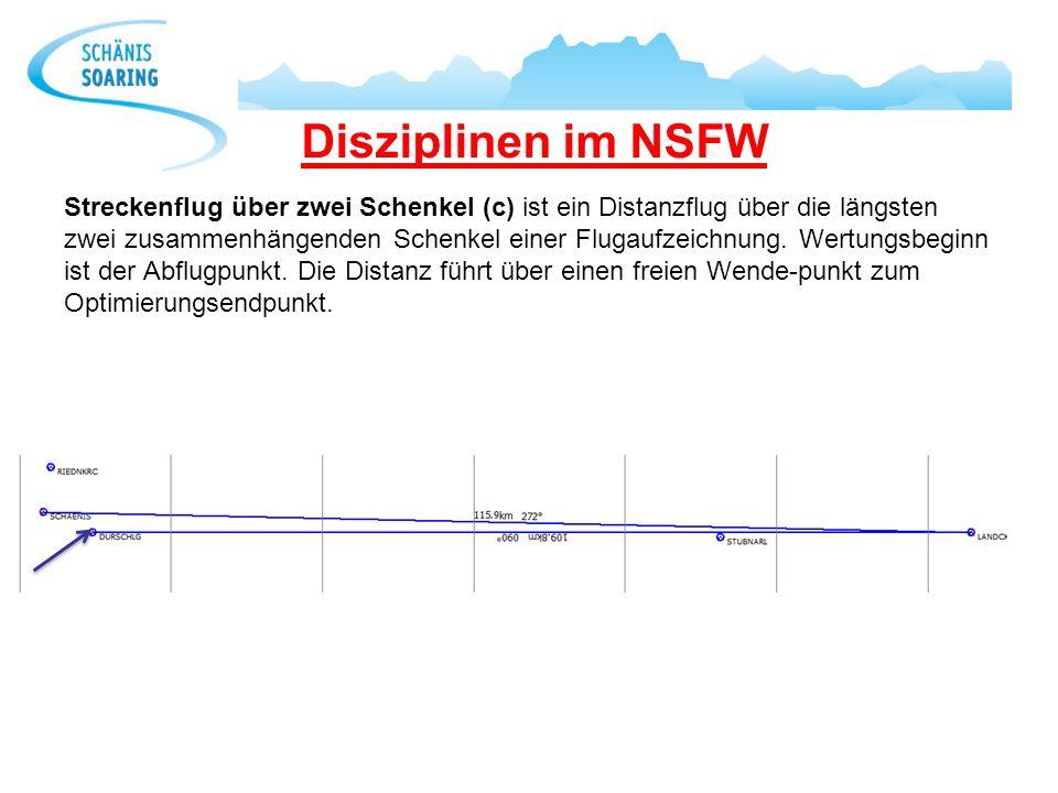 Disziplinen im NSFW Streckenflug über zwei Schenkel (c) ist ein Distanzflug über die längsten zwei zusammenhängenden Schenkel einer Flugaufzeichnung.