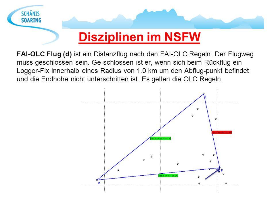 Disziplinen im NSFW FAI-OLC Flug (d) ist ein Distanzflug nach den FAI-OLC Regeln. Der Flugweg muss geschlossen sein. Ge-schlossen ist er, wenn sich be