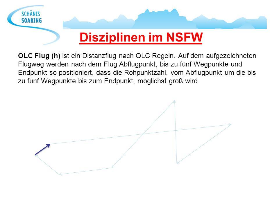 Disziplinen im NSFW OLC Flug (h) ist ein Distanzflug nach OLC Regeln. Auf dem aufgezeichneten Flugweg werden nach dem Flug Abflugpunkt, bis zu fünf We