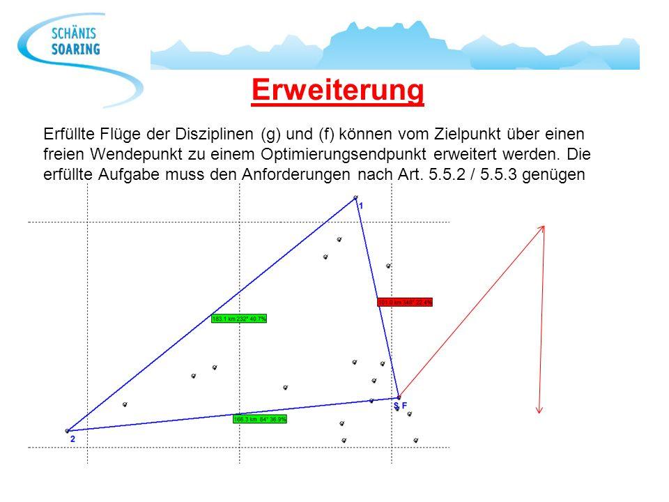 Erweiterung Erfüllte Flüge der Disziplinen (g) und (f) können vom Zielpunkt über einen freien Wendepunkt zu einem Optimierungsendpunkt erweitert werde
