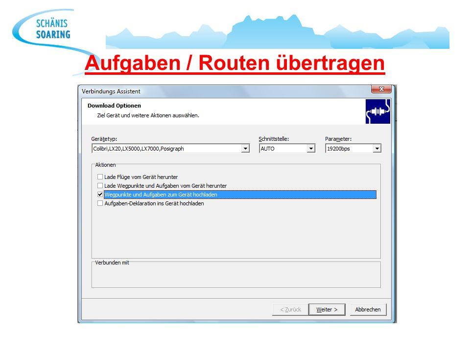 Aufgaben / Routen übertragen